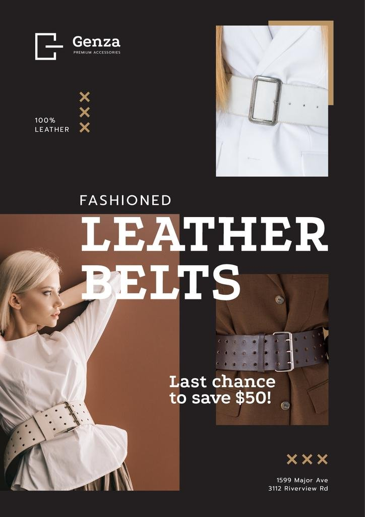 Accessories Store Ad with Women in Leather Belts — Crear un diseño