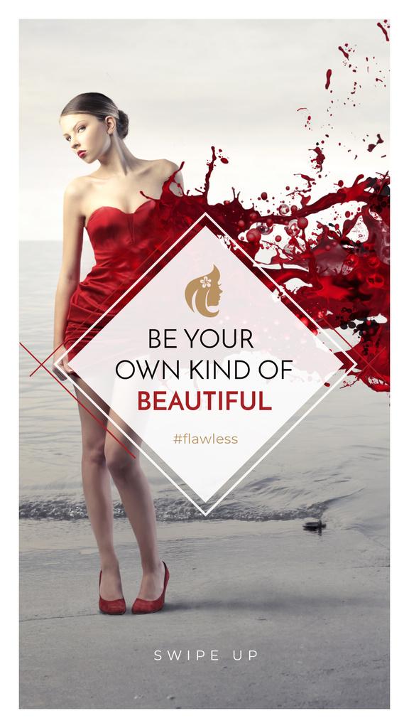 Beauty quote with Young attractive Woman — Maak een ontwerp