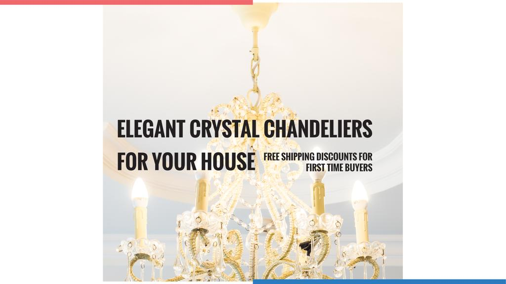 Elegant Crystal Chandelier Ad in White — Create a Design