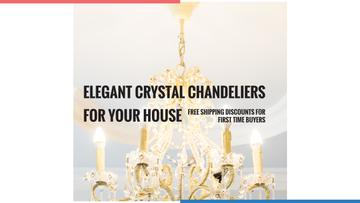 Elegant Crystal Chandelier Ad in White | Youtube Channel Art