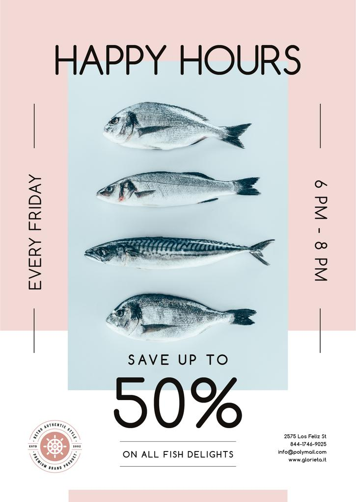 Happy Hours Offer on Fresh Fish — Создать дизайн