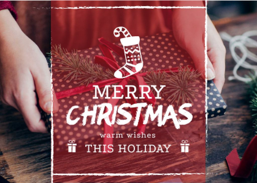 Merry Christmas Greeting Woman Wrapping Gift — Crea un design