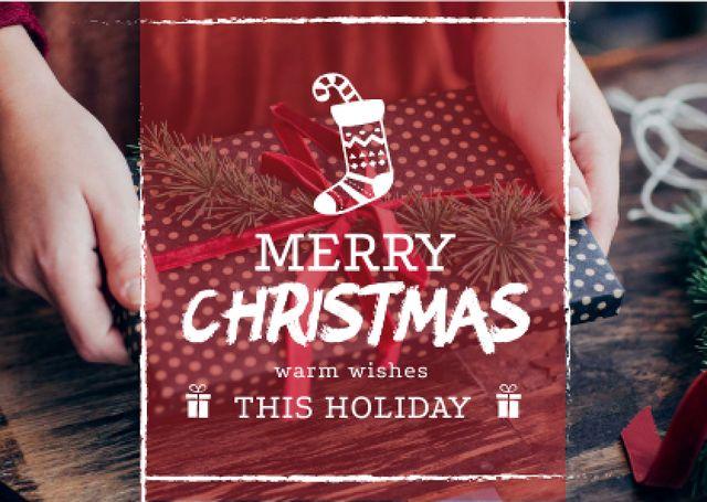 Merry Christmas Greeting Woman Wrapping Gift Card – шаблон для дизайна