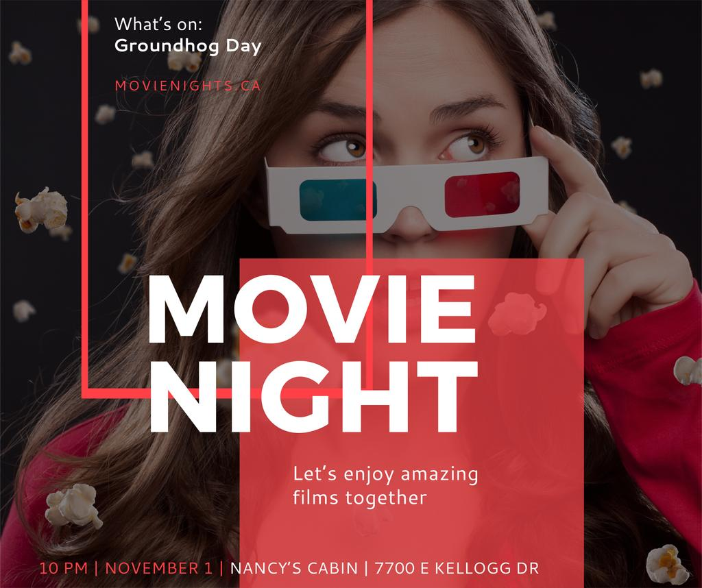 Movie Night Event Woman in 3d Glasses | Facebook Post Template — Створити дизайн