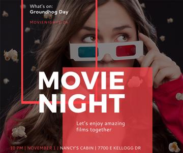 Movie Night Event Woman in 3d Glasses | Facebook Post Template