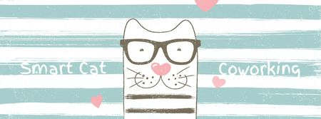 Smart cat on striped background with hearts Facebook Video cover Modelo de Design