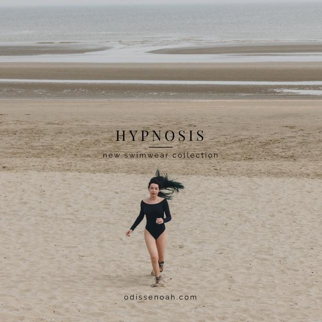 Designvorlage New Swimwear Offer with Young Woman on the beach für Instagram