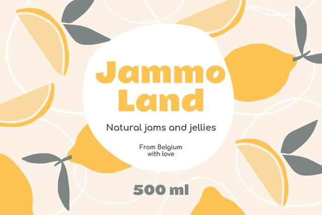 Template di design Natural Jams ad on Citruses pattern Label