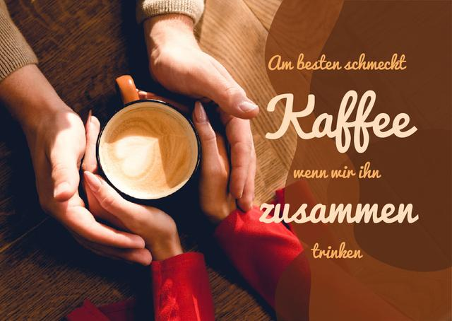 Template di design Coffee Shop Invitation Couple Holding Cup Card