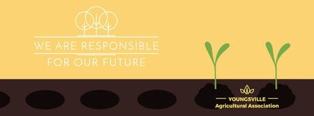 Farmer hands planting seedlings Facebook Video cover Modelo de Design