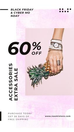 Female hand in shiny accessories holding pineapple Instagram Story Design Template