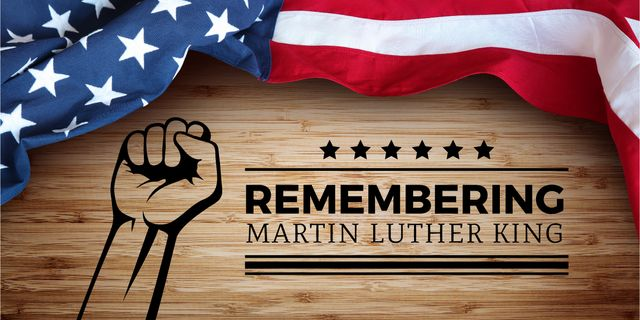 Martin Luther King Day Greeting with Flag Image Modelo de Design