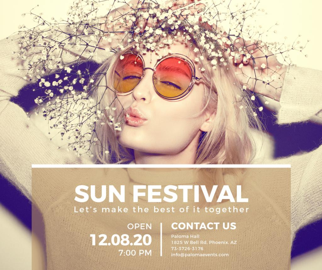 Festival Ad Girl in Sunglasses and Wreath | Facebook Post Template — Створити дизайн