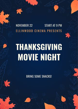 Template di design Thanksgiving Movie Night on Orange Autumn Leaves Flayer