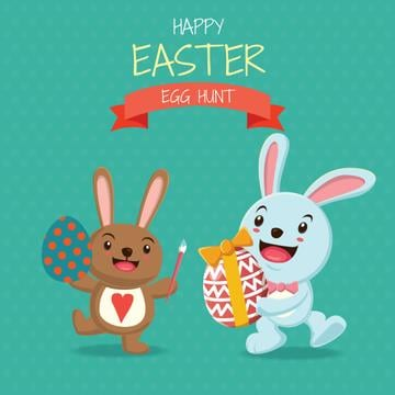 Cartoon Easter bunnies with colored eggs