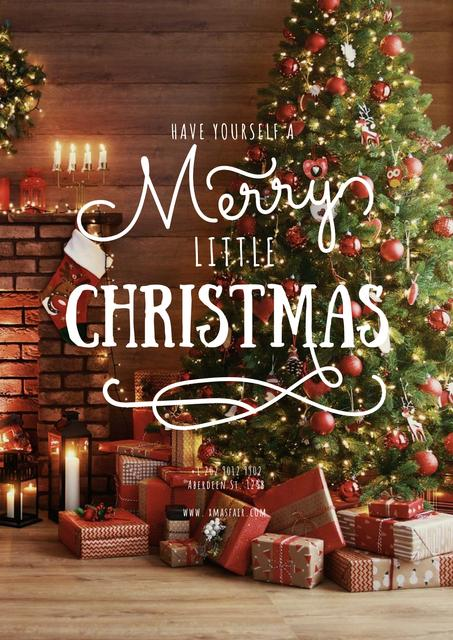 Szablon projektu Merry Christmas greeting with Gifts under Tree Poster
