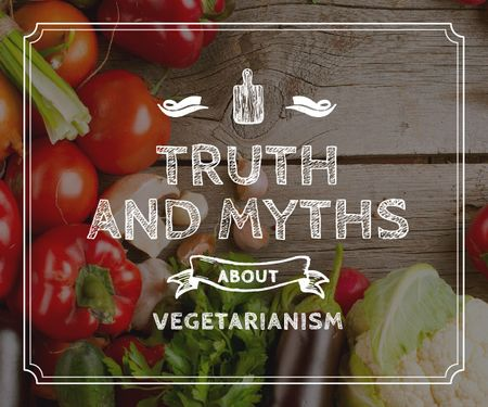 Plantilla de diseño de Truth and myths about Vegetarianism Medium Rectangle