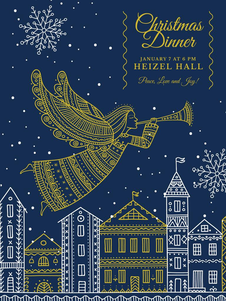Christmas Dinner Invitation Angel Flying over City — Modelo de projeto