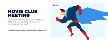 Movie Club Meeting Man in Superhero Costume | Facebook Cover Template