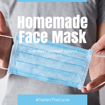 #FlattenTheCurve Man holding homemade face Mask