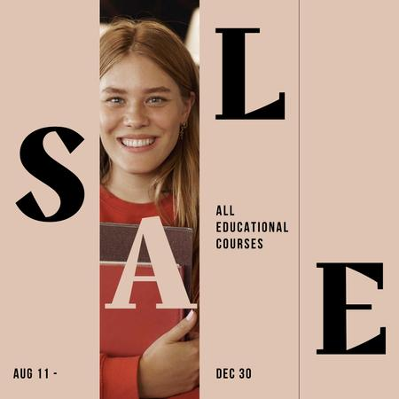 Designvorlage Educational Courses Sale with smiling Girl für Instagram