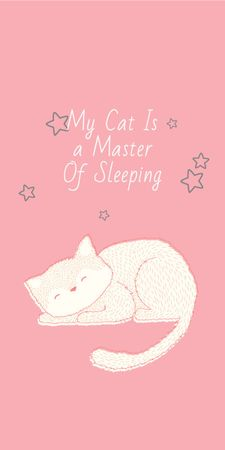 Ontwerpsjabloon van Graphic van Cute Cat Sleeping in Pink