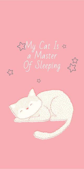 Ontwerpsjabloon van Graphic van Cute Cat Sleeping in Pink