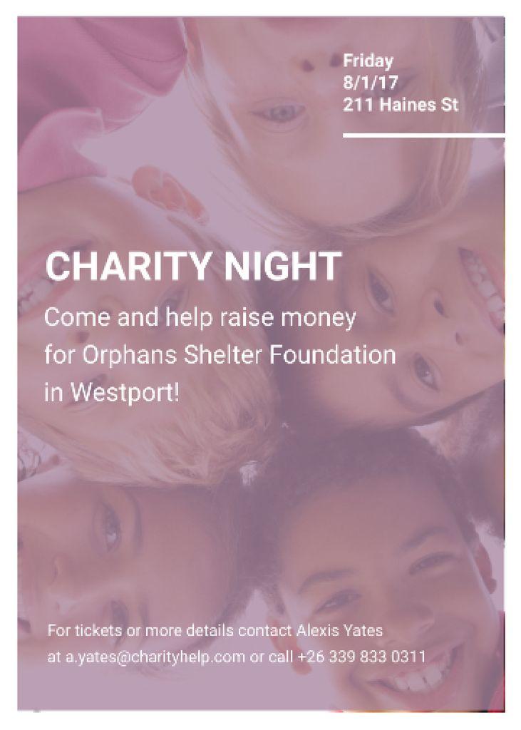 Happy kids in circle on Charity Night Invitation – шаблон для дизайна
