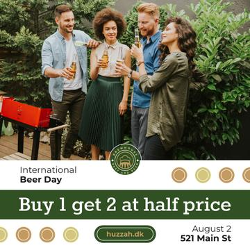 Beer Day Sale People Toasting Bottles at Backyard | Instagram Post Template