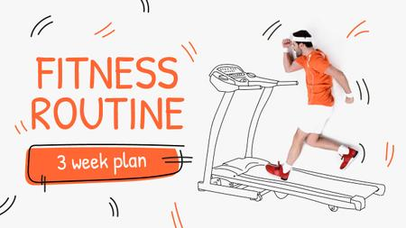 Training Plan Man on Treadmill Drawing Youtube Thumbnail Design Template