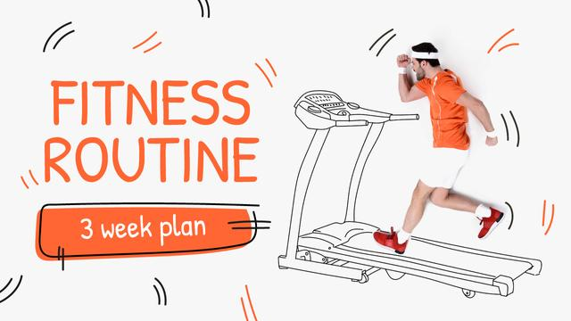 Training Plan Man on Treadmill Drawing Youtube Thumbnail Tasarım Şablonu