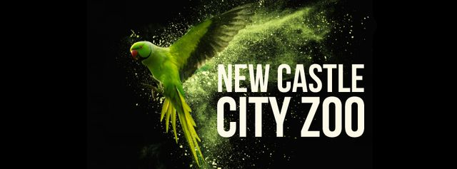 Template di design Flying green parrot Facebook Video cover