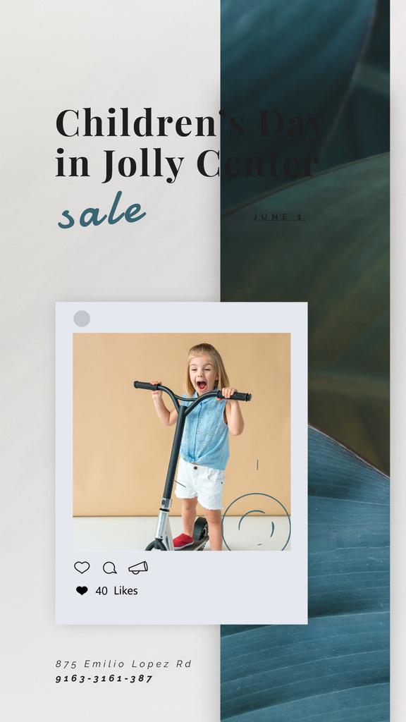 Children's Day Sale Girl Riding Kick Scooter | Vertical Video Template — Modelo de projeto
