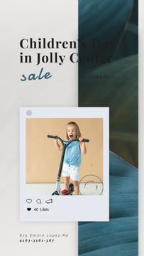 Children's Day Sale Girl Riding Kick Scooter | Vertical Video Template