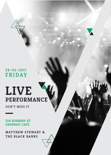 Live Performance Announcement with audience Flayer Modelo de Design