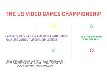 Video games Championship Announcement Card Modelo de Design