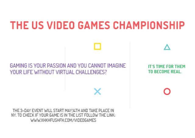 Plantilla de diseño de Video games Championship Announcement Card