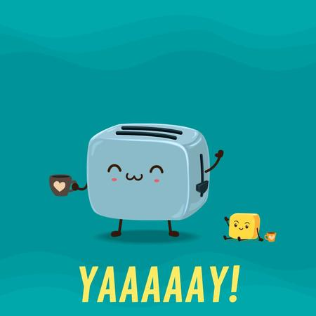 Toaster and Coffee Funny Characters Animated Post Modelo de Design