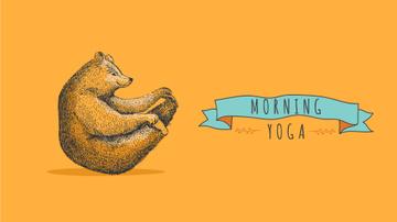 Bear Doing Yoga on Orange