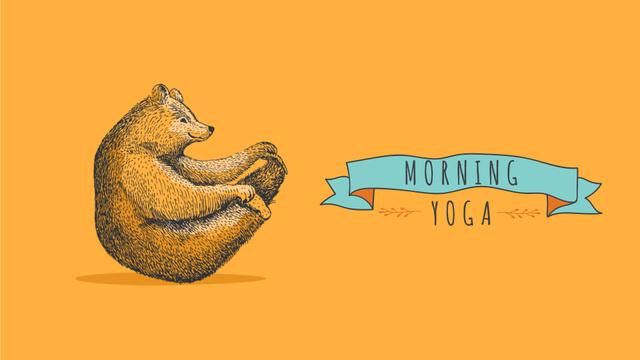 Designvorlage Bear Doing Yoga on Orange für Full HD video