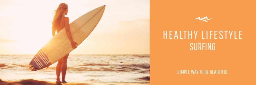 Summer Vacation Offer Woman with Surfboard — Maak een ontwerp