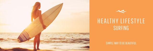 Summer Vacation Offer Woman with Surfboard Twitter – шаблон для дизайна