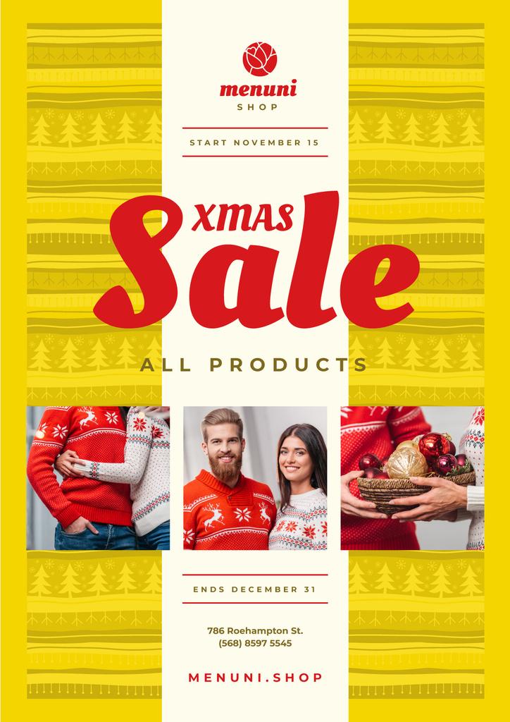 Xmas Sale with Couple with Presents — Modelo de projeto