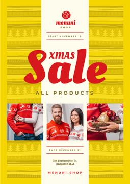 Xmas Sale Couple with Presents | Poster Template