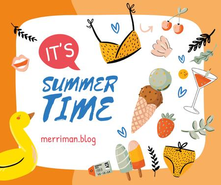 Ontwerpsjabloon van Facebook van Summer clothes and food