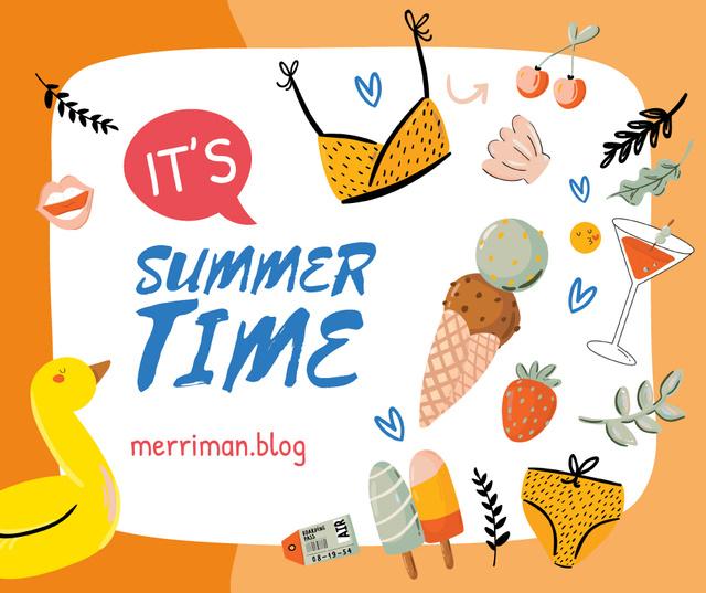 Ontwerpsjabloon van Facebook van Summer clothes and food