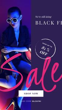 Black Friday Sale Woman in Neon Light