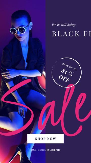 Ontwerpsjabloon van Instagram Story van Black Friday Sale Woman in Neon Light