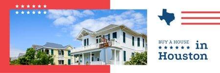 Plantilla de diseño de Houston Real Estate Modern House Facade Twitter
