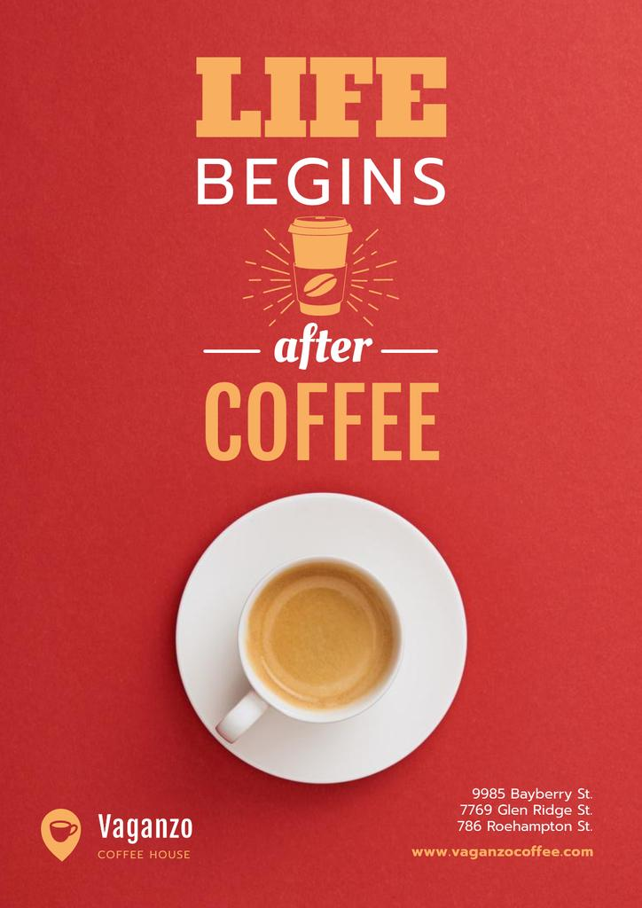 Coffee Quote with Cup in Red — Crear un diseño